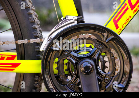 Tambov, Russian Federation - May 07, 2017 Close-up of chainwheel and Shimano Tourney front derailleur on bicycle. - Stock Photo