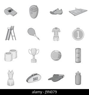 Tennis icons set, gray monochrome style - Stock Photo