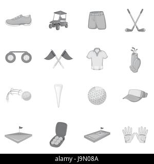 Golf icons set, gray monochrome style - Stock Photo