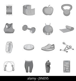 Fitness icons set, gray monochrome style - Stock Photo