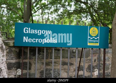 Glasgow Necropolis sign, Glasgow, Scotland, UK - Stock Photo