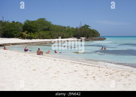 Tourists on the beautiful Island of Saona with its crystal clear Caribbean waters, Caribbean, Dominican Republic - Stock Photo
