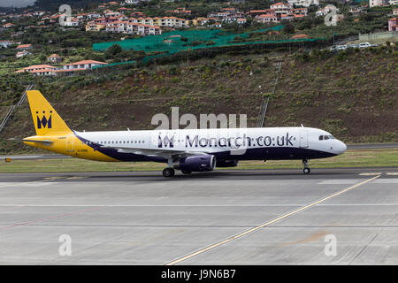 Monarch Airlines Airbus A321 taxi-ing at Madeira Airport, near Fuchal, recently renamed Christiano Ronaldo International - Stock Photo