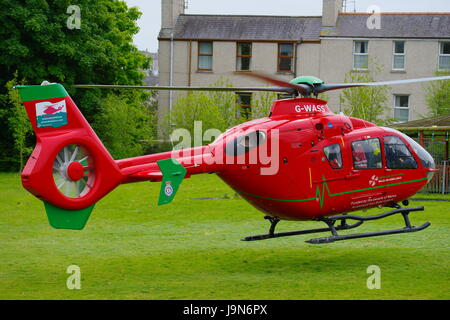 Wales Air Ambulance at Holyhead School - Stock Photo