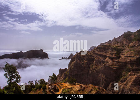 dramatic landscape taken above the clouds in Santo Antao, Cape Verde - Stock Photo
