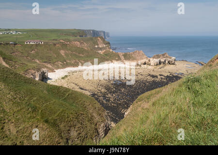Thornwick Bay on the Yorkshire coast - Stock Photo