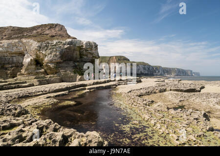 Thornwick Bay on the Yorkshire coast - Stock Photo
