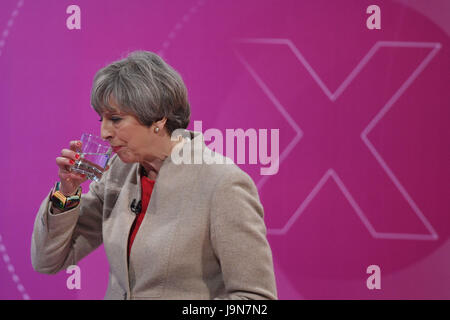 Prime Minister Theresa May takes part in a BBC Question Time Leaders Special programme where she is questioned by - Stock Photo