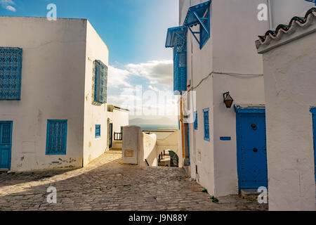 Sidi Bou Said, famouse village with traditional tunisian architecture. - Stock Photo