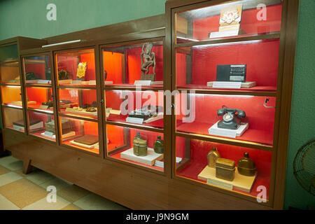 Historic relics in Building D67 bunker (Central Military Commission Bunker), Imperial Citadel of Thang Long (UNESCO - Stock Photo