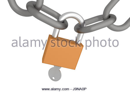 realistic closed padlock wtih chains and key. concept of security, protection and privacy. 3d render, 3d illustration - Stock Photo