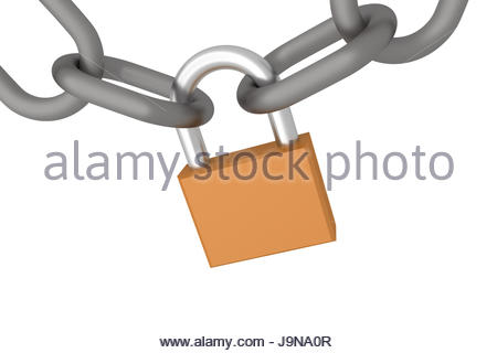 realistic closed padlock wtih chains. concept of security, protection and privacy. 3d render, 3d illustration - Stock Photo