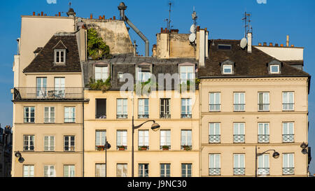 Row of typical Left Bank Parisian buildings in the Sorbonne neighborhood. Latin Quarter, 5th Arrondissement, Paris, - Stock Photo