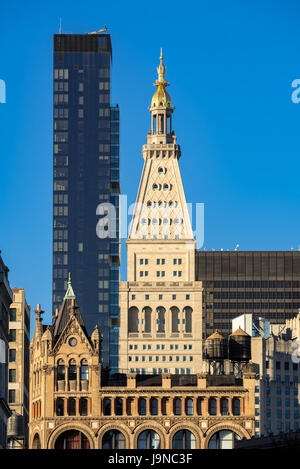 Metropolitan Life Tower and One Madison Park skyscrapers. Midtown Manhattan, New York City - Stock Photo