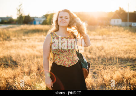 005ce8a5a6b Portrait Of Young Pretty Plus Size Caucasian Happy Girl Woman With Closed  Eyes