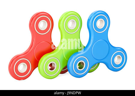 Set of colored fidget spinners, 3D rendering isolated on white background - Stock Photo