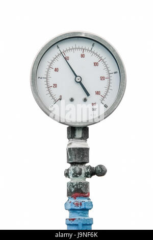 retro gauge, old meter water pipe on white background - Stock Photo
