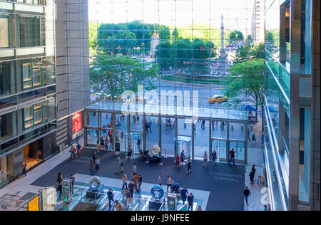 View of Columbus Circle from inside the Time Warner Center in New York City - Stock Photo