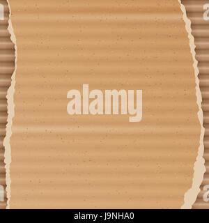 Corrugated Cardboard Vector Background. Realistic Texture Ripped Cardboard Wallpaper With Torn Edges. Logistics - Stock Photo