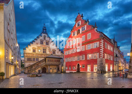 Building of Old Town Hall (Altes Rathaus) in the evening, Lindau, Bavaria, Germany - Stock Photo
