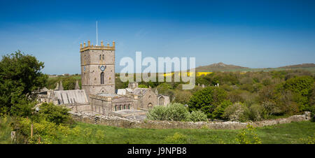 UK, Wales, Pembrokeshire, St Davids, Cathedral in River Alun Valley, panoramic - Stock Photo
