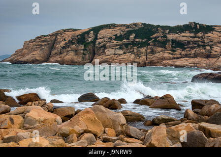 Coastline and South China Sea at Shek-O, Hong Kong - Stock Photo