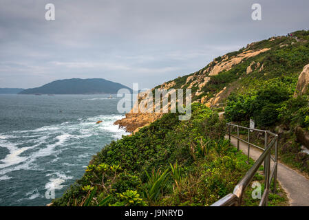 Shek-O Coastline and Islands, Hong Kong and South China Sea - Stock Photo