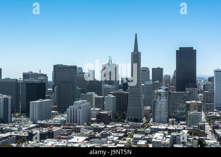 View from above of the skyline of San Francisco, California - Stock Photo