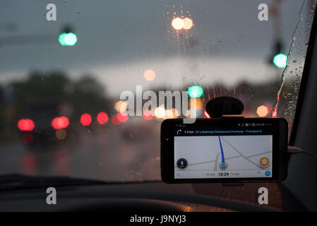 GPS navigation system in the car - Stock Photo