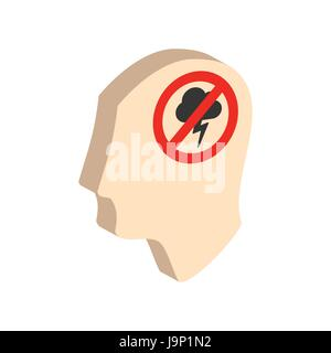 Head with storming cloud, stress concept symbol. Flat Isometric Icon or Logo. 3D Style Pictogram for Web Design, - Stock Photo