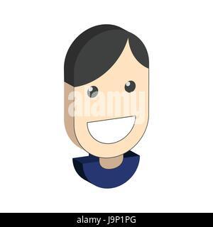 Smiling man avatar symbol. Flat Isometric Icon or Logo. 3D Style Pictogram for Web Design, UI, Mobile App, Infographic. - Stock Photo