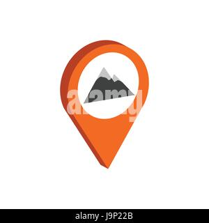 Map Pointer with Mountain symbol. Flat Isometric Icon or Logo. 3D Style Pictogram for Web Design, UI, Mobile App, - Stock Photo