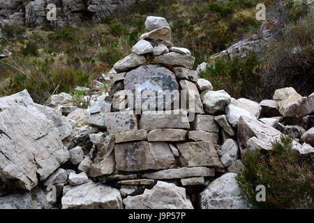stone markers on the Beinn Eighe Moutain Trail National Nature Reserve towards Loch Maree and Slioch Mountains Scotland - Stock Photo