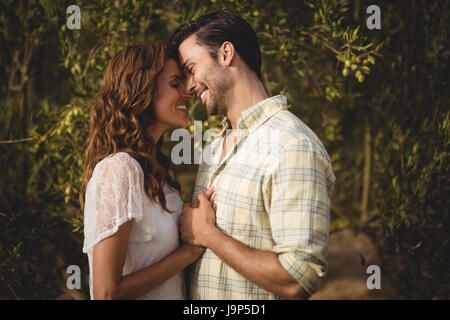 Loving young couple standing by trees at olive farm