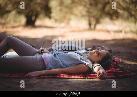 High angle view of young couple napping on mat at olive farm - Stock Photo