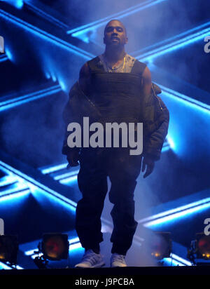 LAS VEGAS, NV - MAY 17: Kanye West performs on the 2015 Billboard Music Awards at the MGM Grand Garden Arena on - Stock Photo