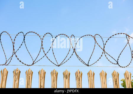 Razor wire on the top of Palisade Security fencing. - Stock Photo