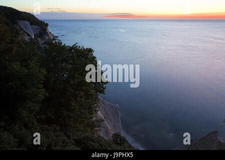 Germany,Mecklenburg-West Pomerania,the Baltic Sea,island Rügen,national park Jasmund,Sassnitz,chalk coast,dusk, - Stock Photo
