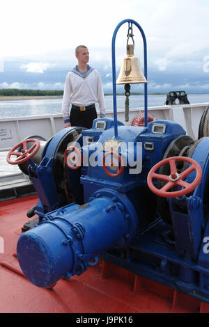 Russia,Jamal-Nenzen,Muzhi,sailor,ship bug,flux cruise ship Rimskij-Korsakow,bell,windlass, - Stock Photo