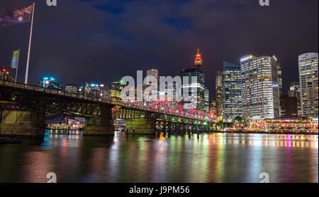 Cockle bay, Darling Harbour at dusk. Sydney, NSW, Australia. - Stock Photo