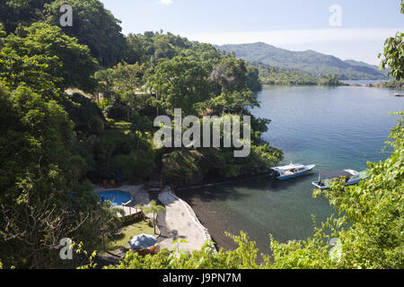 View of the Lembeh Strait Resort,sea,coast,the north Sulawesi,Indonesia, - Stock Photo