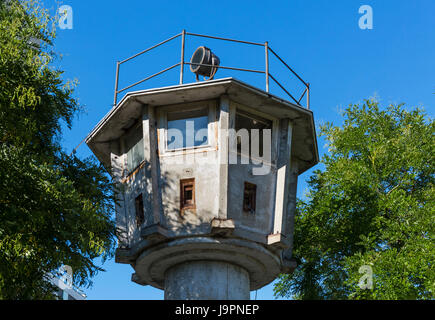 Old GDR Watchtower (DDR-Grenzwachturm), Erna-Berger-Strasse, Mitte, Berlin, Germany - Stock Photo