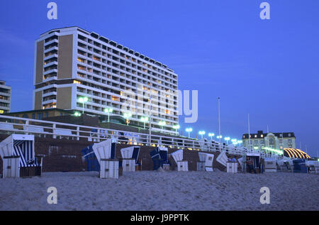 Germany,Schleswig - Holstein,island Sylt,Westerland,beach,high rise,lights,evening,Europe,north frieze country,destination,sandy - Stock Photo