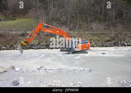 Flux,excavator,excavation works, - Stock Photo