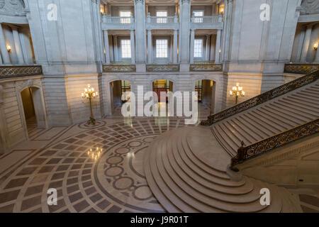 San Francisco, California, USA - June 1, 2017: San Francisco City Hall. The Rotunda as seen from the 2nd floor facing - Stock Photo
