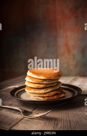 Stack of Pancakes on a plate - Stock Photo