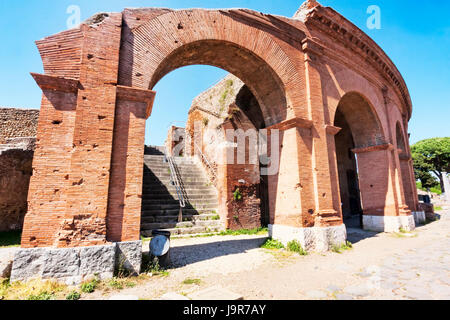 Archaeological Roman site landscape in Ostia Antica - Rome - Italy - Stock Photo