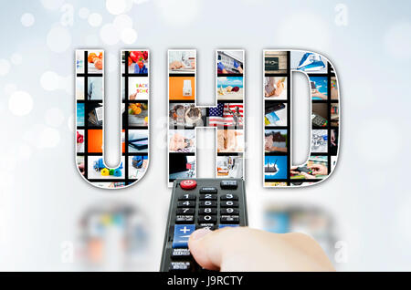 UHD Ultra High Definition 4K, 8K television technology high resolution concept - Stock Photo