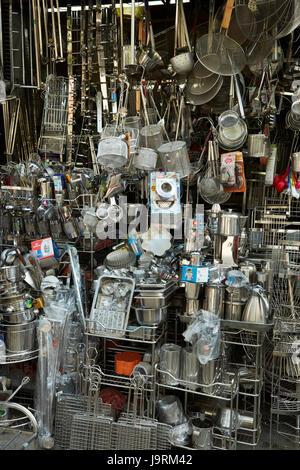 Shop selling metal kitchen utensils, Metal Street, Old Quarter, Hanoi, Vietnam - Stock Photo