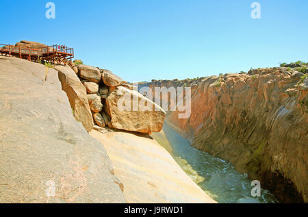 South-West Africa,South Africa,North Cape,Oranje,Augrabies waterfall,lookout,tourist, - Stock Photo